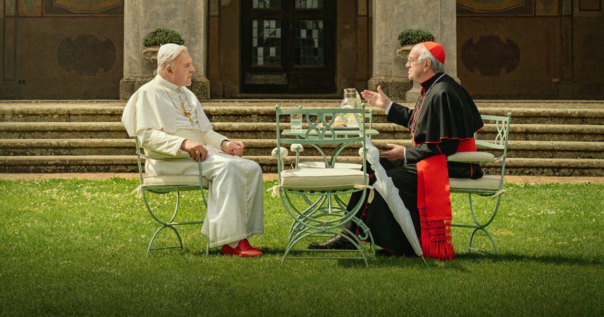 Dois Papas - Jonathan Pryce e Anthony Hopkins em filme de Fernando Meirelles - Original Netflix