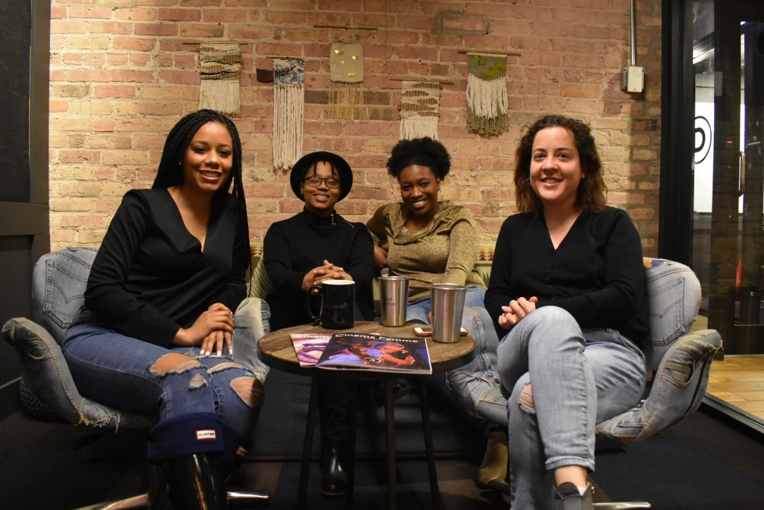 (Left to right) 2019 Sundance Ebert Fellows Niani Scott, Whitney A. Spencer, and Tiffany Walden, and Cinema Femme founder Rebecca Martin