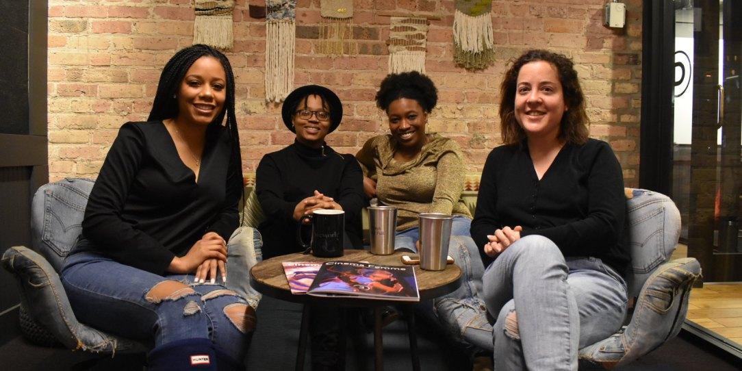 (Left to right) 2019 Sundance Ebert Fellows Niani Scott, Whitney A. Spencer, and Tiffany Walden, and Cinema Femme founder Rebecca Martin