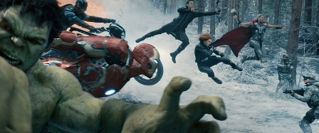 Marvel's Avengers: Age Of Ultron L to R: Hulk (Mark Ruffalo), Captain America (Chris Evans), Iron Man (Robert Downey Jr.), Hawkeye (Jeremy Renner), Black Widow (Scarlett Johansson), and Thor (Chris Hemsworth) Ph: Film Frame ©Marvel 2015