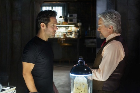 Marvel's Ant-Man L to R: Scott Lang/Ant-Man (Paul Rudd) and Hank Pym/Ant-Man (Michael Douglas) Photo Credit: Zade Rosenthal © Marvel 2014