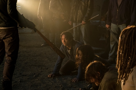 >>> NOT TO BE USED UNTIL 10/24/16 at 1:00 AM EST <<< Jeffrey Dean Morgan as Negan, Danai Gurira as Michonne, Norman Reedus as Daryl Dixon, Christian Serratos as Rosita Espinosa, Steven Yeun as Glenn Rhee - The Walking Dead _ Season 7, Episode 1 - Photo Credit: Gene Page/AMC