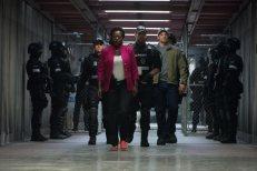 Ike Barinholtz, Viola Davis, and Joel Kinnaman in Suicide Squad