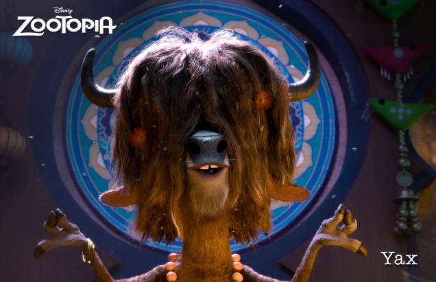 ZOOTOPIA - YAX THE YAK, the most enlightened, laid-back bovine in Zootopia. When Judy Hopps is on a case, Yax is full of revealing insights. ©2015 Disney. All Rights Reserved.