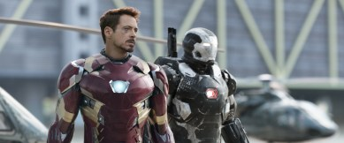 Marvel's Captain America: Civil War L to R: Iron Man/Tony Stark (Robert Downey Jr.) and War Machine/James Rhodes (Don Cheadle) Photo Credit: Film Frame © Marvel 2016
