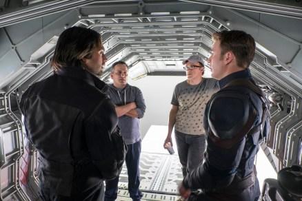 Captain America: Civil War L to R: Sebastian Stan (Winter Soldier), Director Joe Russo, Director Anthony Russo, and Chris Evans (Captain America) on set. Ph: Zade Rosenthal ©Marvel 2016