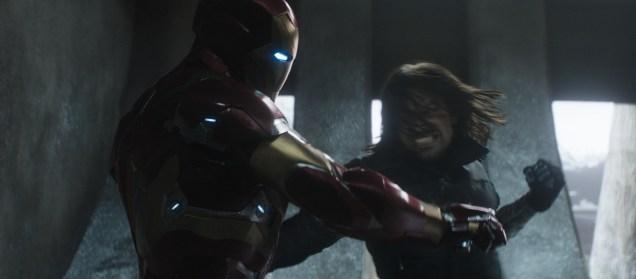Marvel's Captain America: Civil War L to R: Iron Man/Tony Stark (Robert Downey Jr.) and Winter Soldier/Bucky Barnes (Sebastian Stan) Photo Credit: Zade Rosenthal © Marvel 2016