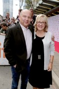 """Producer Christopher Meledandri and Producer Janet Healy seen at Universal Pictures """"Sing"""" at the 2016 Toronto International Film Festival on Sunday, Sept. 11, 2016, in Toronto. (Photo by Eric Charbonneau/Invision for Universal Pictures/AP Images)"""