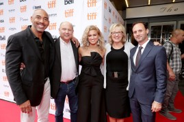 "Executive Music Producer Harvey Mason Jr., Producer Christopher Meledandri, Tori Kelly, Producer Janet Healy and Mike Knobloch, President, Film Music and Publishing of Universal Pictures, seen at Universal Pictures ""Sing"" at the 2016 Toronto International Film Festival on Sunday, Sept. 11, 2016, in Toronto. (Photo by Eric Charbonneau/Invision for Universal Pictures/AP Images)"