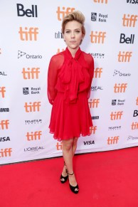 """Scarlett Johansson seen at Universal Pictures """"Sing"""" at the 2016 Toronto International Film Festival on Sunday, Sept. 11, 2016, in Toronto. (Photo by Eric Charbonneau/Invision for Universal Pictures/AP Images)"""