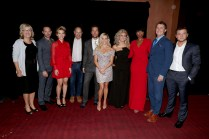 """Producer Janet Healy, Nick Kroll, Scarlett Johansson, Producer Christopher Meledandri, Matthew McConaughey, Reese Witherspoon, Tori Kelly, Jennifer Hudson, Director/Writer Garth Jennings and Taron Egerton seen at Universal Pictures """"Sing"""" at the 2016 Toronto International Film Festival on Sunday, Sept. 11, 2016, in Toronto. (Photo by Eric Charbonneau/Invision for Universal Pictures/AP Images)"""