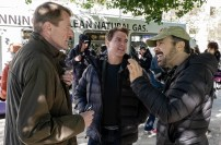 Left to right: Author Lee Child, Tom Cruise and Director Edward Zwick on the set of Jack Reacher: Never Go Back from Paramount Pictures and Skydance Productions