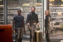 Marvel Studios' AVENGERS: INFINITY WAR..L to R: War Machine/James Rhodes (Don Cheadle), Captain America/Steve Rogers (Chris Evans) and Black Widow (Scarlett Johansson)..Photo: Chuck Zlotnick..©Marvel Studios 2018
