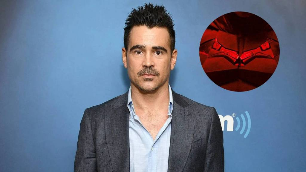 Fotografía de Colin Farrel con logo de The Batman