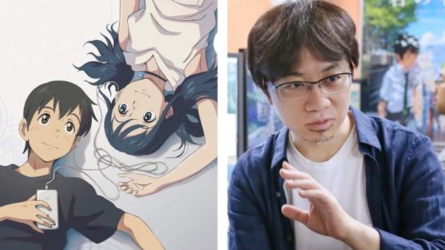 Fotografía e Makoto Shinkai con imagen de El tiempo contigo