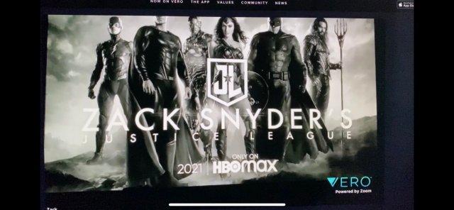 captura de pantalla de anuncio snyder cut de liga de la justicia