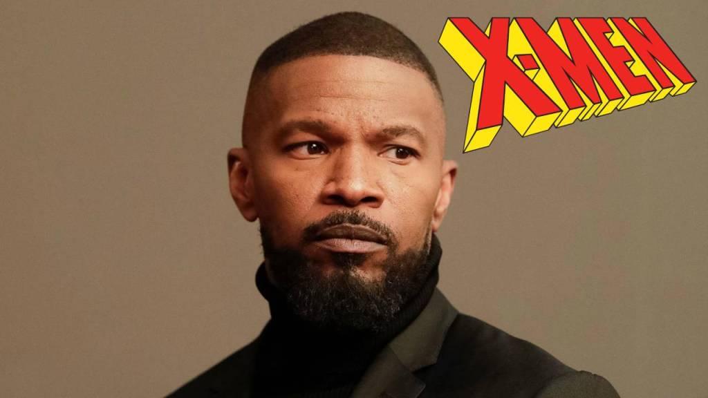Fotografía de Jamie Foxx con logo de X-Men