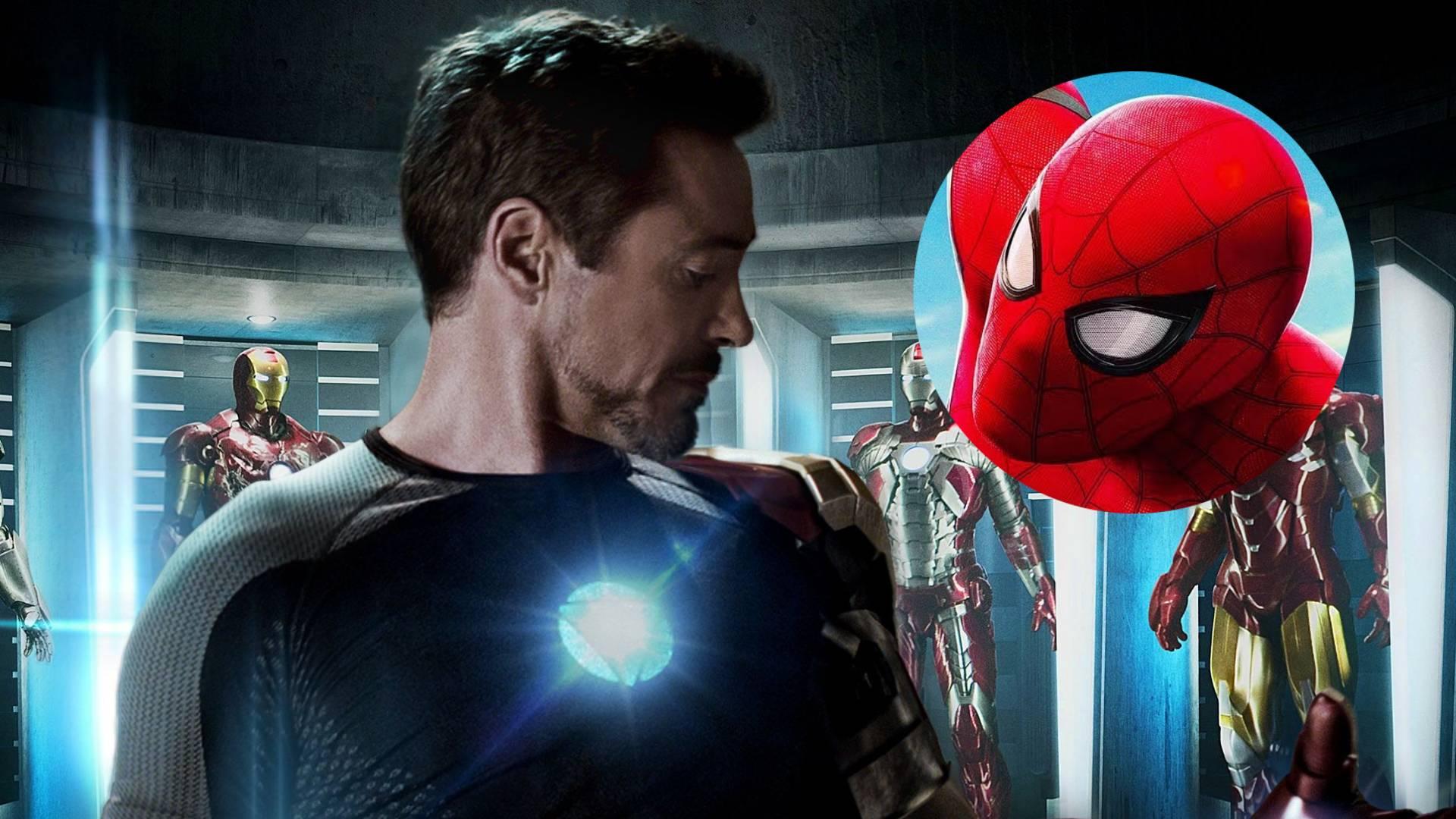 Fotografía de Robert Downey Jr. como Tony Stark y Spider-Man