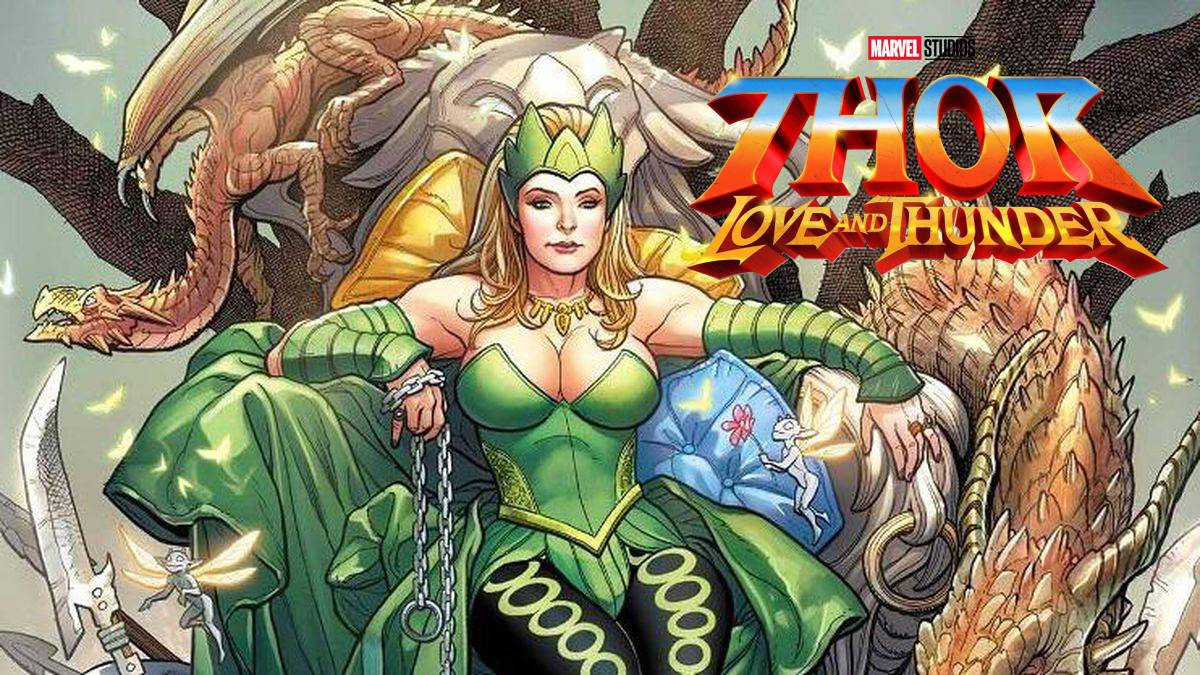 Ilustración de Enchantress con logo de Thor: Love and Thunder