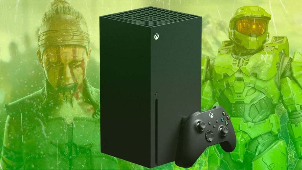 Fotografía de Xbox Series X con imagen de Halo Infinite y Hellblade 2