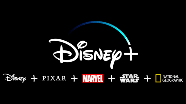 Imagen de logos de Disney+, Pixar, Marvel Studios, Star Wars, National Geographic,