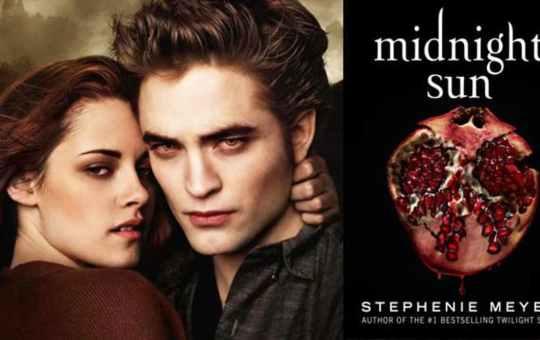 Fotografía de Kristen Stewart y Robert Pattinson con portada de Midnight Sun