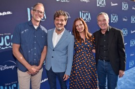 LOS ANGELES, CALIFORNIA - JUNE 17: (L-R) CCO of Pixar Pete Docter, Enrico Casarosa, Andrea Warren, and General Manager/President of Pixar Jim Morris arrive at the world premiere for LUCA, held at the El Capitan Theatre in Hollywood, California on June 17, 2021. (Photo by Alberto E. Rodriguez/Getty Images for Disney)