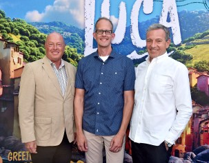 LOS ANGELES, CALIFORNIA - JUNE 17: (L-R) CEO of The Walt Disney Company Bob Chapek, CCO of Pixar Pete Docter, and Executive Chairman of The Walt Disney Company Bob Iger arrive at the world premiere for LUCA, held at the El Capitan Theatre in Hollywood, California on June 17, 2021. (Photo by Alberto E. Rodriguez/Getty Images for Disney)