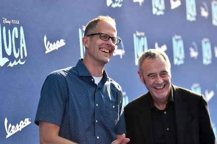 LOS ANGELES, CALIFORNIA - JUNE 17: (L-R) CCO of Pixar Pete Docter and General Manager/President of Pixar Jim Morris arrive at the world premiere for LUCA, held at the El Capitan Theatre in Hollywood, California on June 17, 2021. (Photo by Alberto E. Rodriguez/Getty Images for Disney)