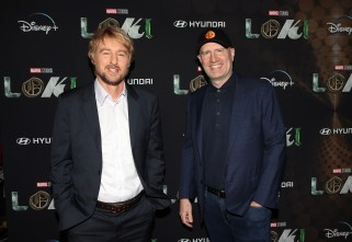 LOS ANGELES, CALIFORNIA - JUNE 08: (L-R) Owen Wilson and Kevin Feige attend the Loki Global Fan Event at El Capitan Theatre on June 08, 2021 in Los Angeles, California. (Photo by Jesse Grant/Getty Images for Disney )