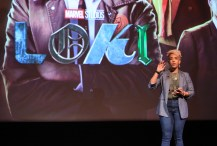 LOS ANGELES, CALIFORNIA - JUNE 08: Angélique Roché speaks during the Loki Global Fan Event at El Capitan Theatre on June 08, 2021 in Los Angeles, California. (Photo by Jesse Grant/Getty Images for Disney )