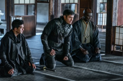 Iko Uwais plays Hard Master, Henry Golding plays Snake Eyes and Peter Mensah plays Blind Master in Snake Eyes: G.I. Joe Origins from Paramount Pictures, Metro-Goldwyn-Mayer Pictures and Skydance.