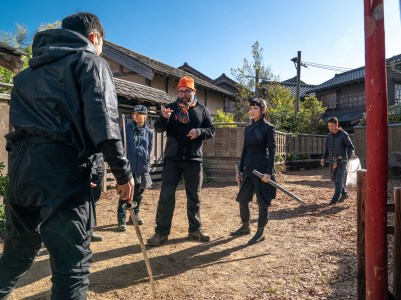Henry Golding, Director Robert Schwentke and Haruka Abe on the set of Snake Eyes: G.I. Joe Origins from Paramount Pictures, Metro-Goldwyn-Mayer Pictures and Skydance.
