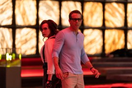Jodie Comer as Molotov Girl and Ryan Reynolds as Guy in 20th Century Studios' FREE GUY. Photo by Alan Markfield. © 2020 Twentieth Century Fox Film Corporation. All Rights Reserved.
