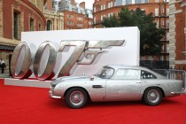 """LONDON, ENGLAND - SEPTEMBER 28: James Bonds Aston Martin car at the World Premiere of """"NO TIME TO DIE"""" at the Royal Albert Hall on September 28, 2021 in London, England. (Photo by Tristan Fewings/Getty Images for EON Productions, Metro-Goldwyn-Mayer Studios, and Universal Pictures)"""