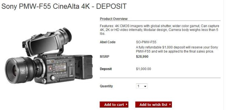Street Price Drop for the Sony PMW-F5 and PMW-F55 Cameras