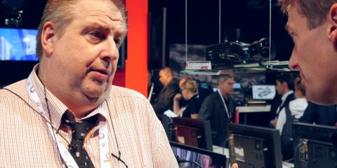 JVC's Gustav Emrich introduces the JVC GY-LS300 prototype at IBC 2014 from Stephen Pritchard