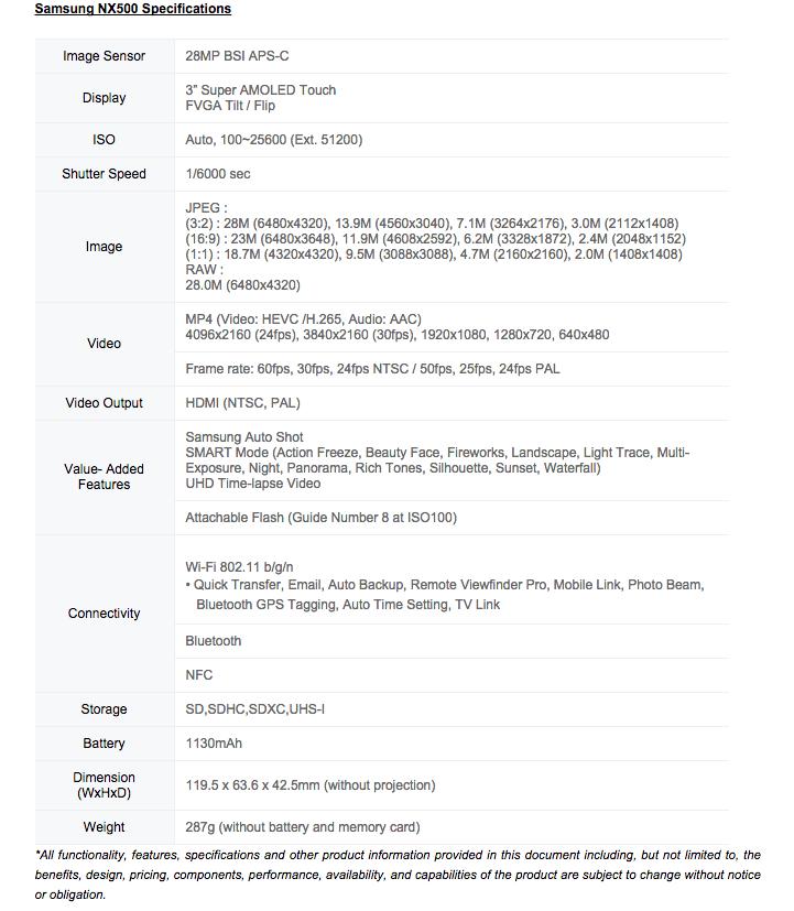 Samsung NX500 Details