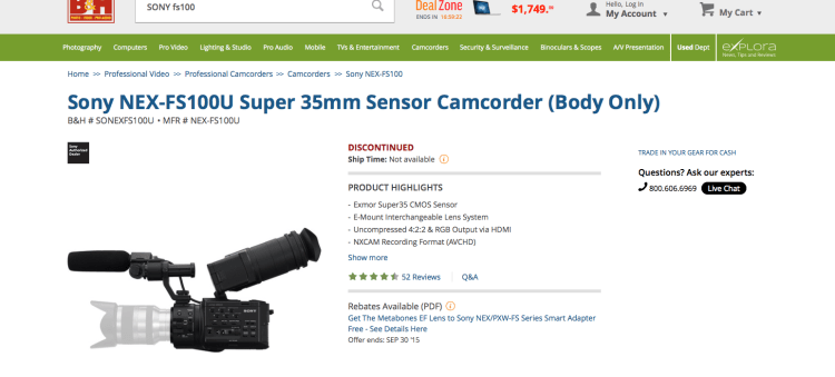 Sony FS100 BandH
