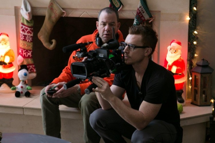 Left to right: Director Gregory Plotkin and Director of Photography John w. Rutland on the set of Paranormal Activity: The Ghost Dimension from Paramount Pictures.Photo credit: Jaimie Trueblood © 2015 Paramount Pictures. All Rights Reserved.