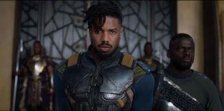 Michael B. Jordan como Erik Killmonger no filme do Pantera Negra