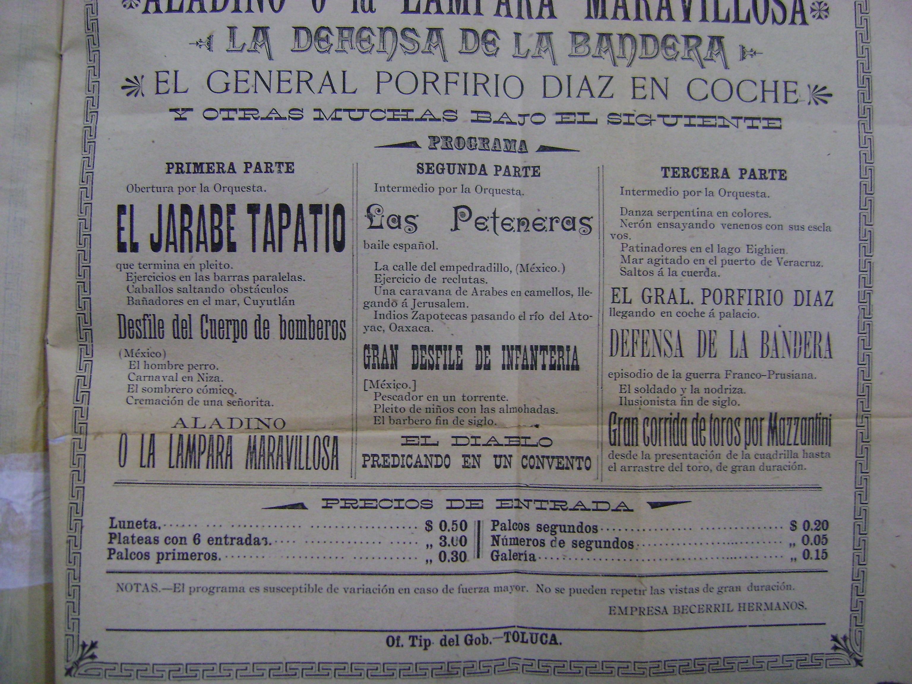 Cartel del Teatro Principal del 21 de octubre de 1902