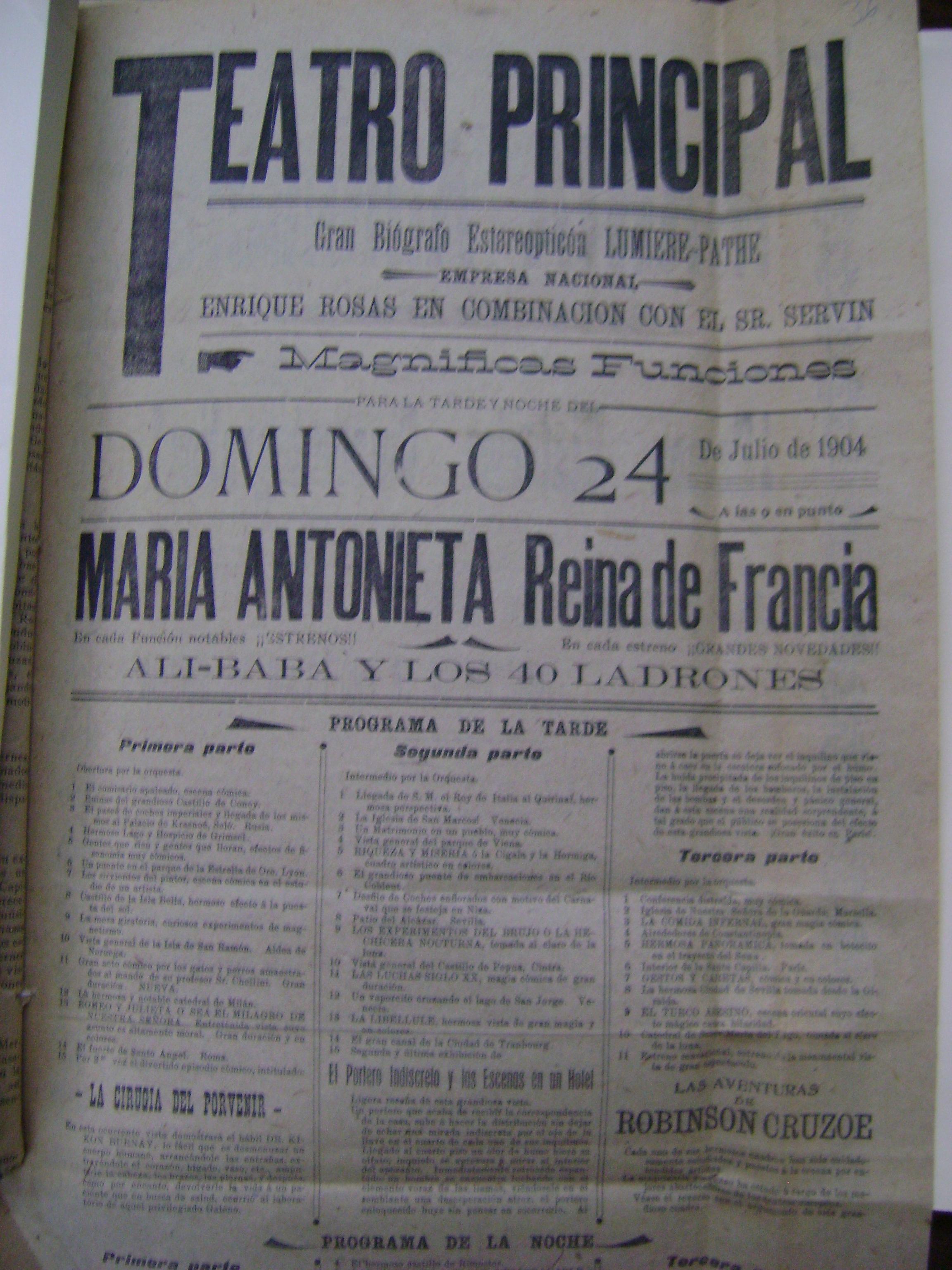 Cartel del domingo 24 de julio de 1904