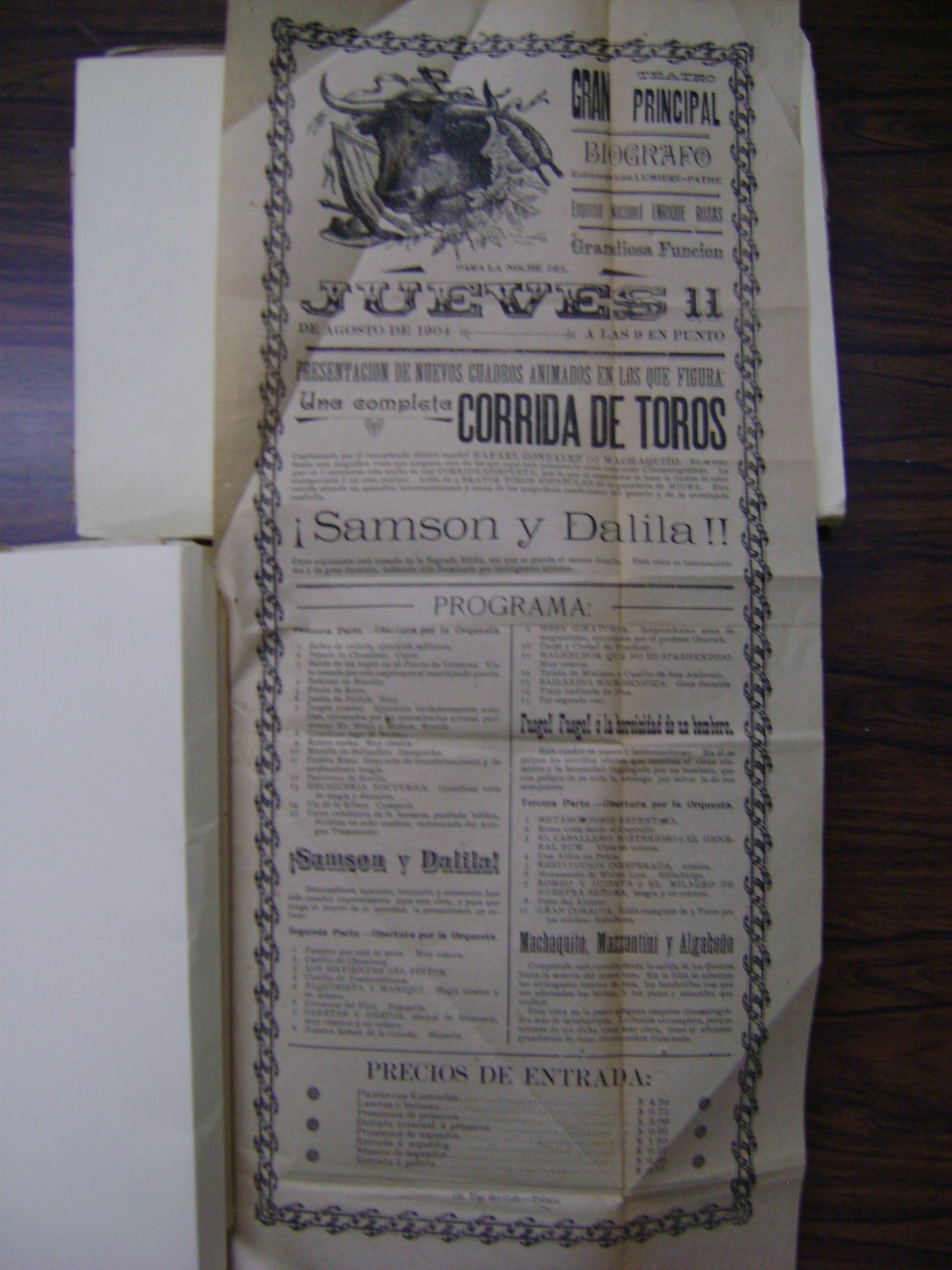 Cartel del jueves 11 de agosto de 1904