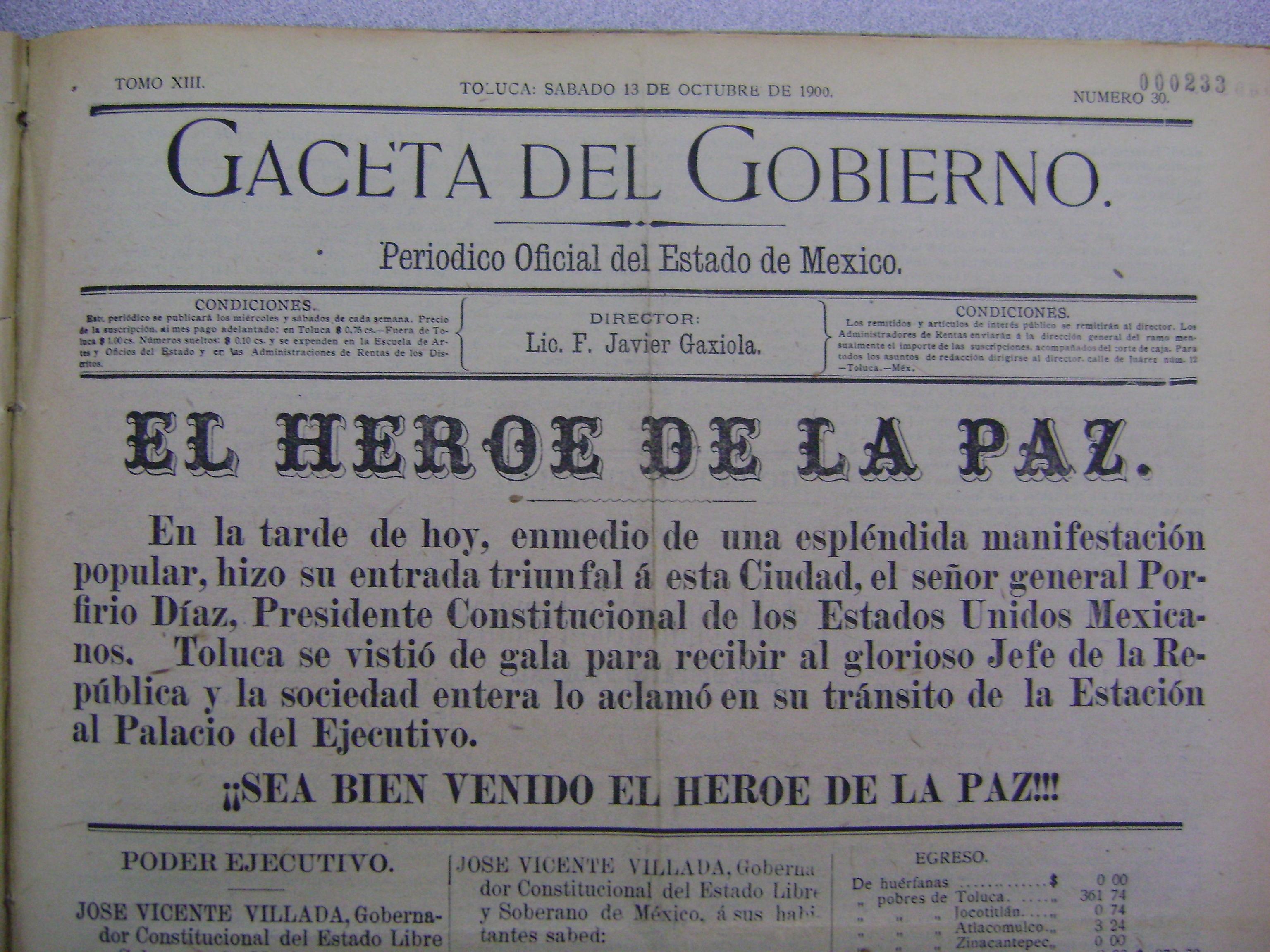 Bienvenida al Gral. Díaz en su visita a Toluca. Gaceta de Gobierno del 13 de octubre de  1900