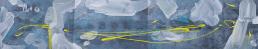 Four segments of blues [100 x 25 cm], Mixed media © Prosper Jerominus, 2015