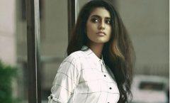 Priya Varrier in white with cute look