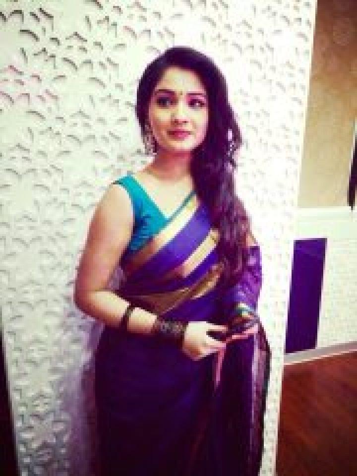 Sharanya Sundaraj in Navy blue Saree