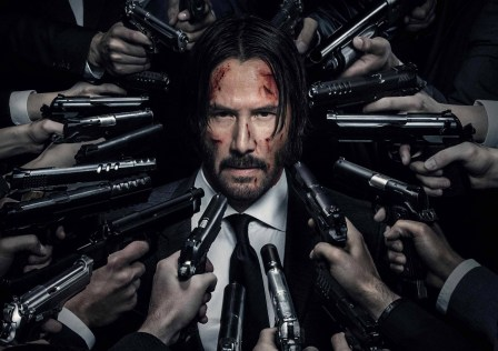 John Wick Chapter 2 Keanu Reeves Guns Violent black suit