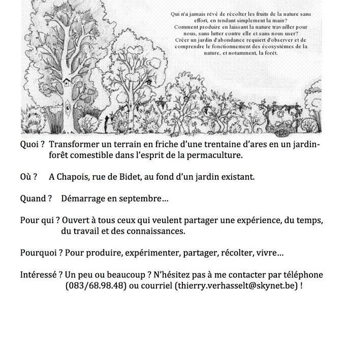 Un Jardin-Forêt comestible à Ciney (Chapois)